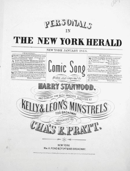 Personals in the New York Herald. Comic Song