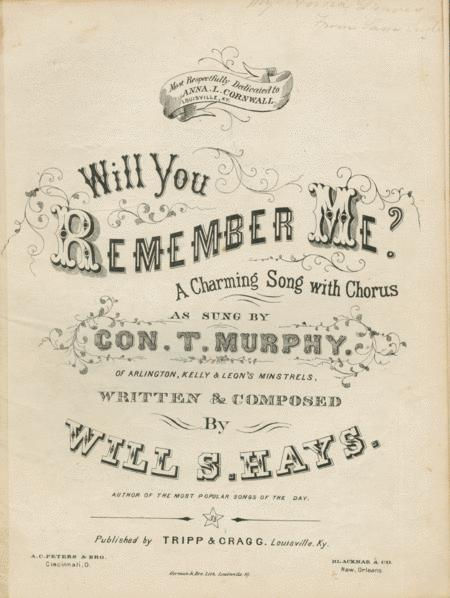 Will You Remember Me? A Charming Song with Chorus