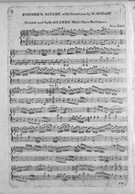 Fischer's Minuet. With Variations by W. Mozart