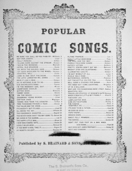 Popular Comic Songs. The Curly Little Bow-Wow