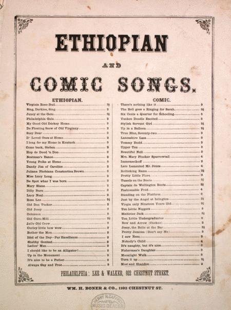 Ethiopian and Comic Songs. Moet and Shandon for Me. Sequel to Champagne Charlie