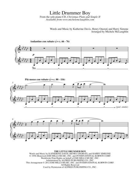 Download Little Drummer Boy Sheet Music By Michele Mclaughlin