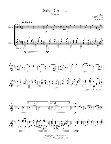 Salut D'Amour (Violin and Guitar) - Score and Parts