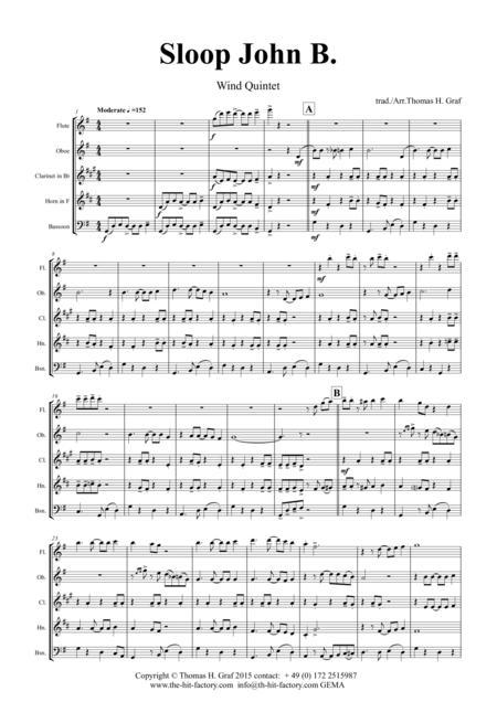Sloop John B. - Caribian Folk Song - Wind Quintet