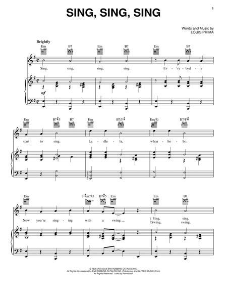 Download Sing Sing Sing Sheet Music By Louis Prima Sheet Music Plus