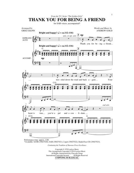 Thank You For Being A Friend (Theme from The Golden Girls) (arr. Greg Gilpin)
