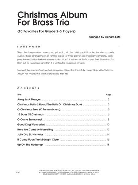 Christmas Album For Brass Trio - Full Score