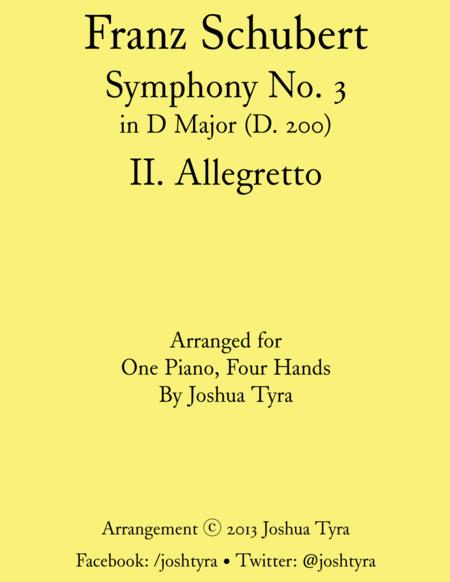 Allegretto from Schubert's Symphony No. 3 – Piano Duet