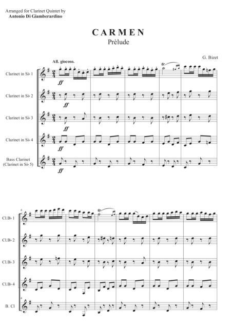 CARMEN - Prélude for Clarinet Quintet ( Clarinet Choir )