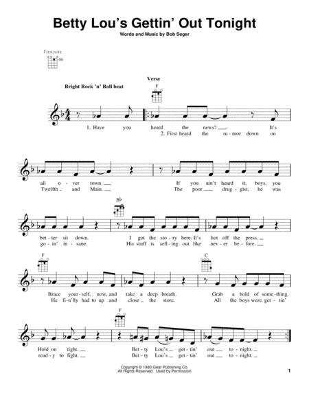 Download Betty Lous Gettin Out Tonight Sheet Music By Bob Seger