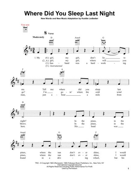 Download Where Did You Sleep Last Night Sheet Music By Nirvana ...