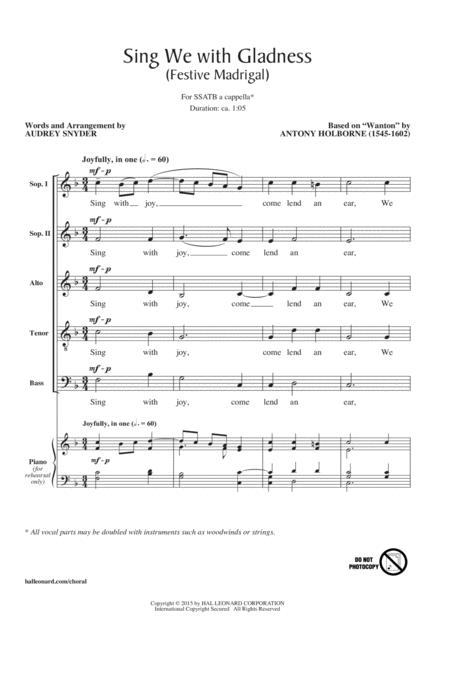 Sing We With Gladness (Festive Madrigal)