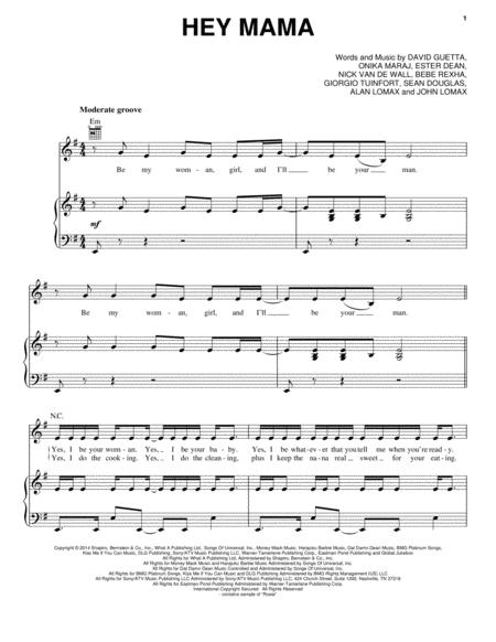Download Hey Mama Sheet Music By David Guetta Sheet Music Plus