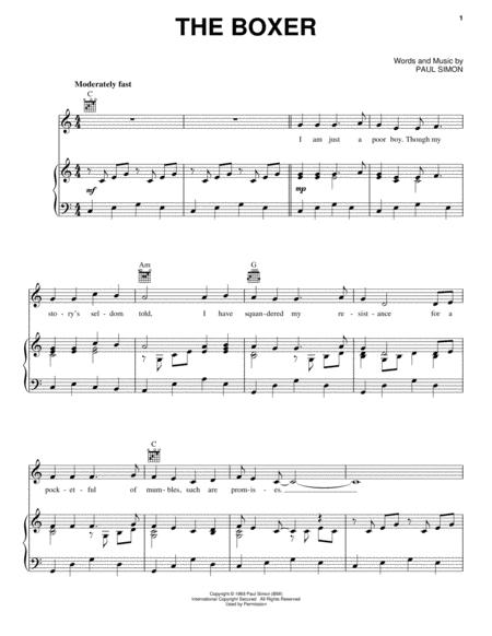 Download The Boxer Sheet Music By Paul Simon - Sheet Music Plus