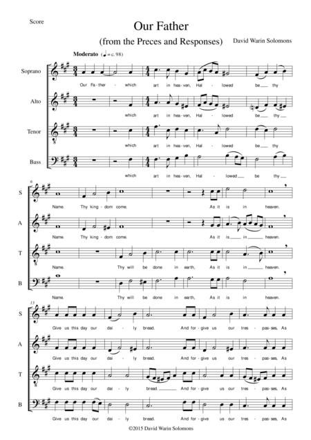 Our Father for SATB (1662 BCP version without doxology)