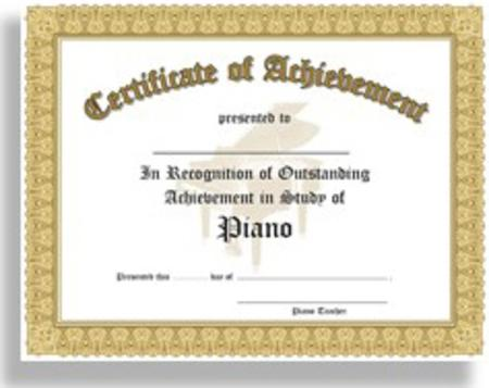 Certificate Of Outstanding Achievement In The Study Of ...