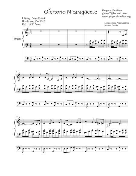 Ofertorio Nicareguense arranged for organ.