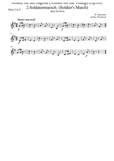 Schumann: Album für die Jugend (Album for the Young) (Op.68)  2.Soldatenmarsch. (Soldier's March) arr.horn duet