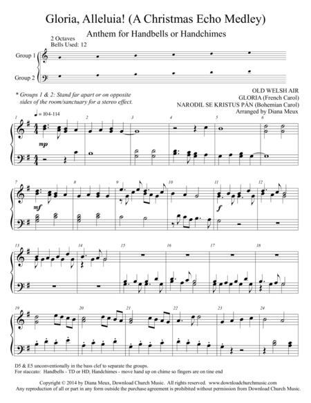 Gloria, Alleluia! (A Christmas Echo Medley) for handbells/chimes - 2 octaves