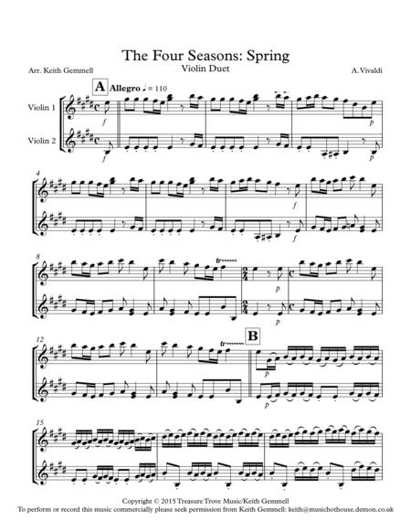 Download The Four Seasons Spring Violin Duet Sheet Music