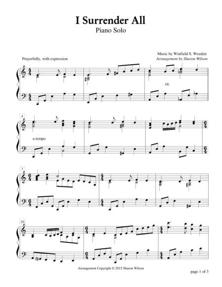 Download I Surrender All Piano Solo Sheet Music By Winfield S