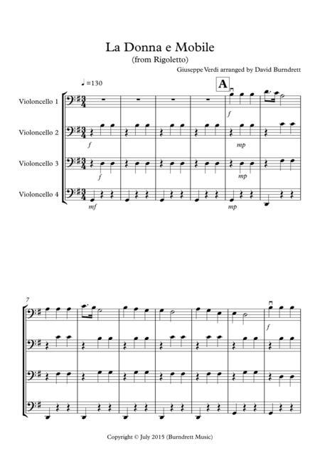 La Donna e Mobile (from Rigoletto) for Cello Quartet