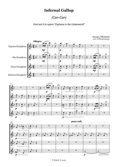 Offenbach - Infernal Gallop (Can-Can) - for saxophone quartet - Score and parts