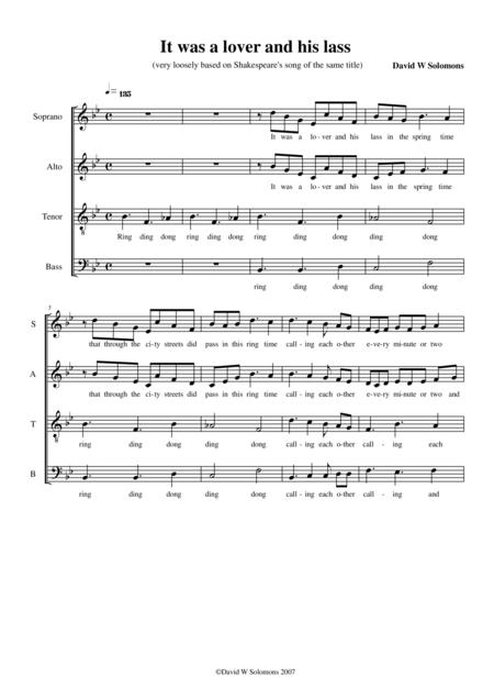 It was a lover and his lass (a modern madrigal) for SATB choir