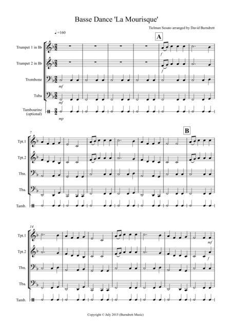 Basse Dance by Susato for Brass Quartet