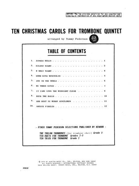 Ten Christmas Carols For Trombone Quintet/3rd Trombone