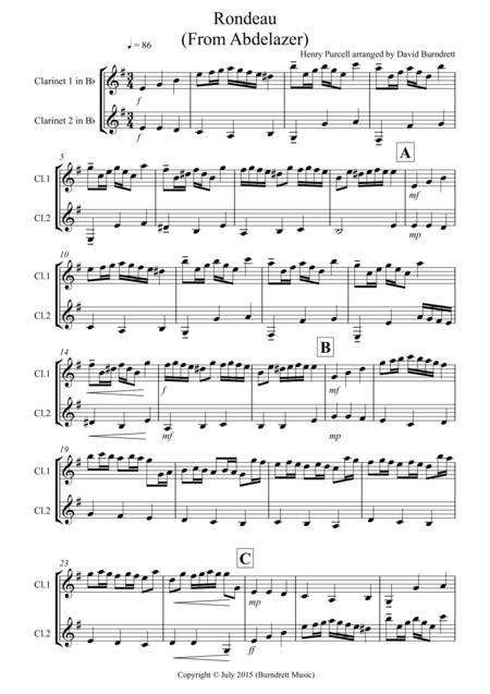 Rondeau (From Abdelazer) for Clarinet Duet