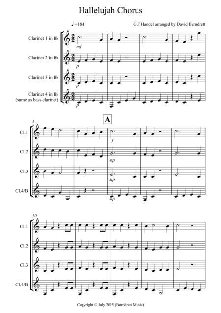 Hallelujah Chorus for Clarinet Quartet