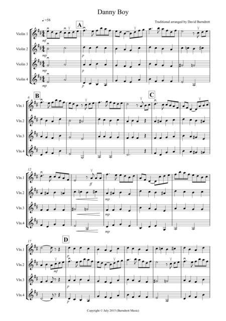 Danny Boy for Violin Quartet