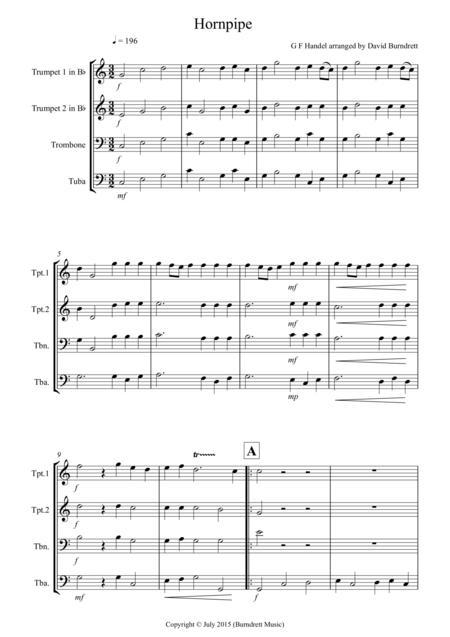 Hornpipe from Handel's Water Music for Brass Quartet
