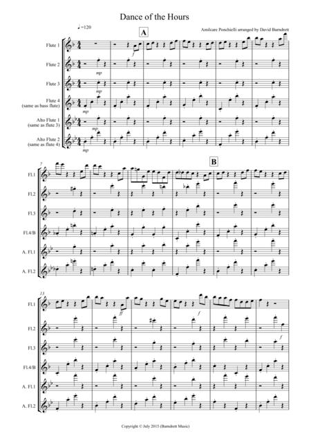 Dance of the Hours for Flute Quartet