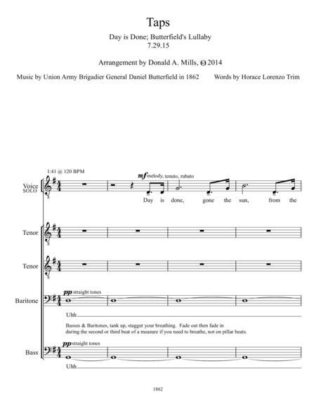Taps (ttbb plus solo) a cappella