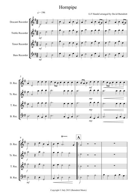 Hornpipe from Handel's Water Music for Recorder Quartet