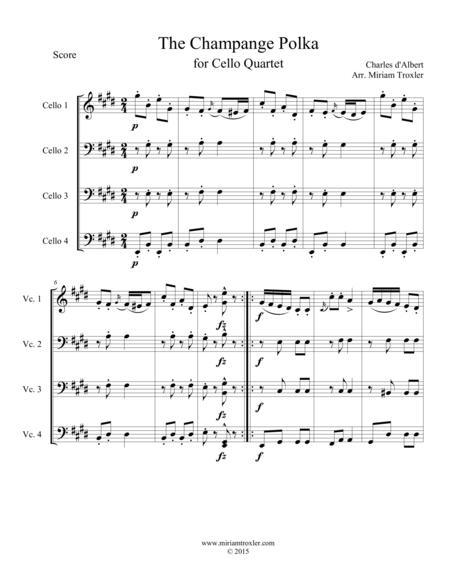 The Champange Polka for Cello Quartet