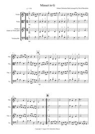 Minuet in G by Bach for String Trio