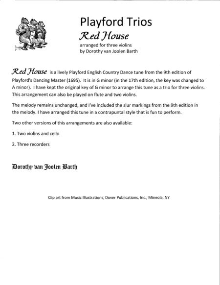 Playford Trios: Red House (3 Violins)