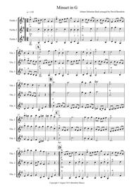 Minuet in G by Bach for Violin Trio
