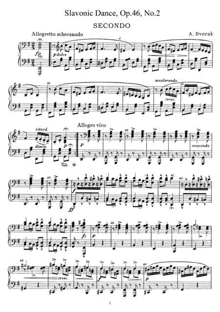Dvorak Slavonic Dance, Op.46, No.2, for piano duet, PD882