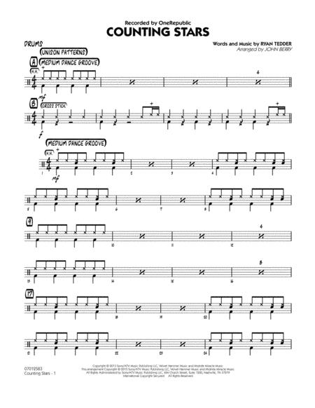 Download Counting Stars Drums Sheet Music By Onerepublic Sheet