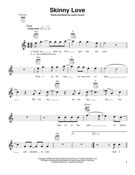 Download Skinny Love Sheet Music By Bon Iver Sheet Music Plus