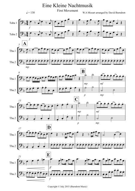 Eine Kleine Nachtmusik (1st movement) for Tuba Duet