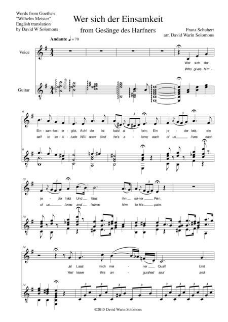 Gesänge des Harfners (Songs of the Harpist) for low voice and guitar