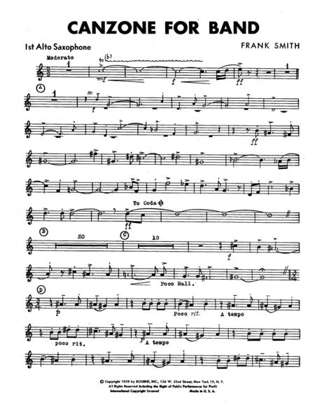 Canzone For Band - 1st Alto Saxophone