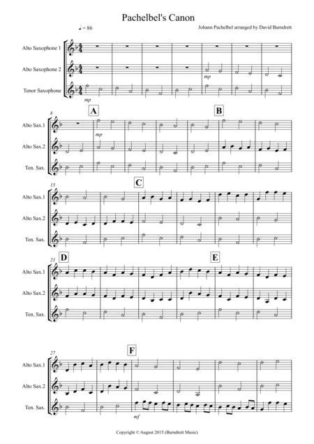 Pachelbel's Canon for Saxophone Trio