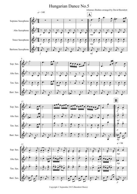 Hungarian Dance No.5 for Saxophone Quartet