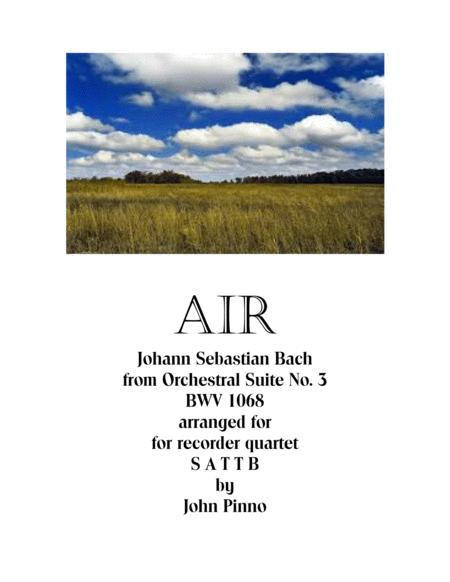 Air from Orchestral Suite No. 3 for recorder quintet SATTB